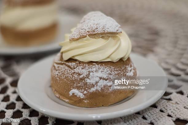 Semla - a cream bun traditionally eaten on Shrove Tuesday in Scandinavia.