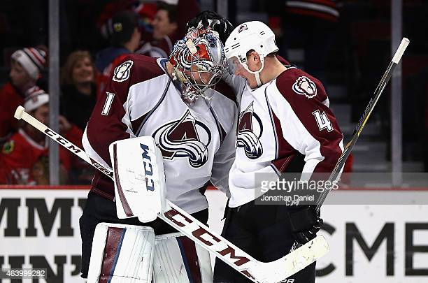 Semyon Varlamov and Tyson Barrie of the Colorado Avalanche celebrate a win over the Chicago Blackhawks at the United Center on February 20 2015 in...