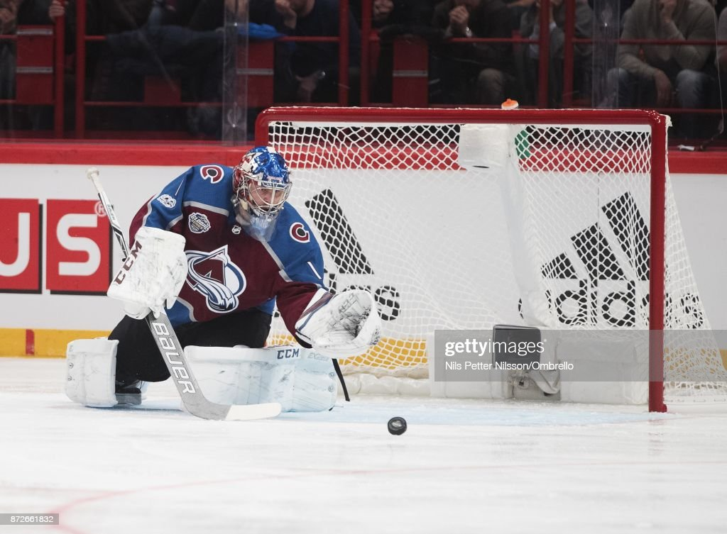 Semyon Varlamov #1, goaltender of Colorado Avalanche makes a save during the 2017 SAP NHL Global Series match between Ottawa Senators and Colorado Avalanche at Ericsson Globe on November 10, 2017 in Stockholm, .