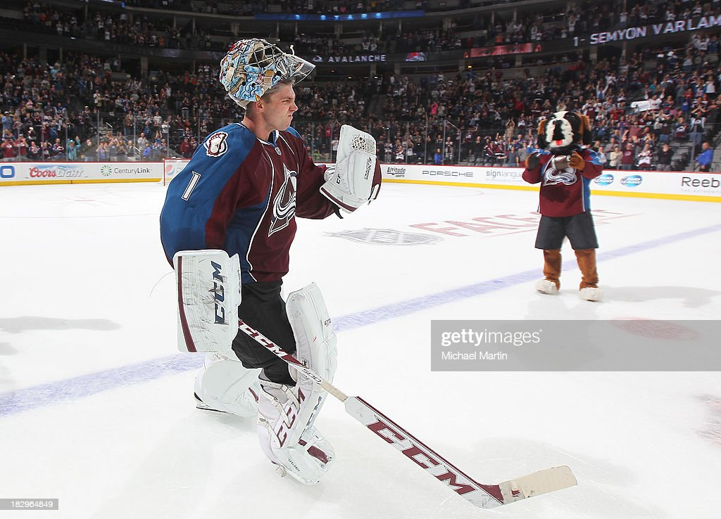 <a gi-track='captionPersonalityLinkClicked' href=/galleries/search?phrase=Semyon+Varlamov&family=editorial&specificpeople=6264893 ng-click='$event.stopPropagation()'>Semyon Varlamov</a> #1 of the Colorado Avalanche celebrates after defeating the Anaheim Ducks 6-1 at the Pepsi Center on October 2, 2013 in Denver, Colorado.