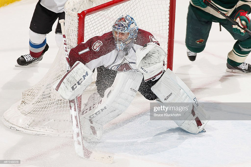 Semyon Varlamov #1 of the Colorado Avalanche defends his goal against the Minnesota Wild during Game Six of the First Round of the 2014 Stanley Cup Playoffs on April 28, 2014 at the Xcel Energy Center in St. Paul, Minnesota.