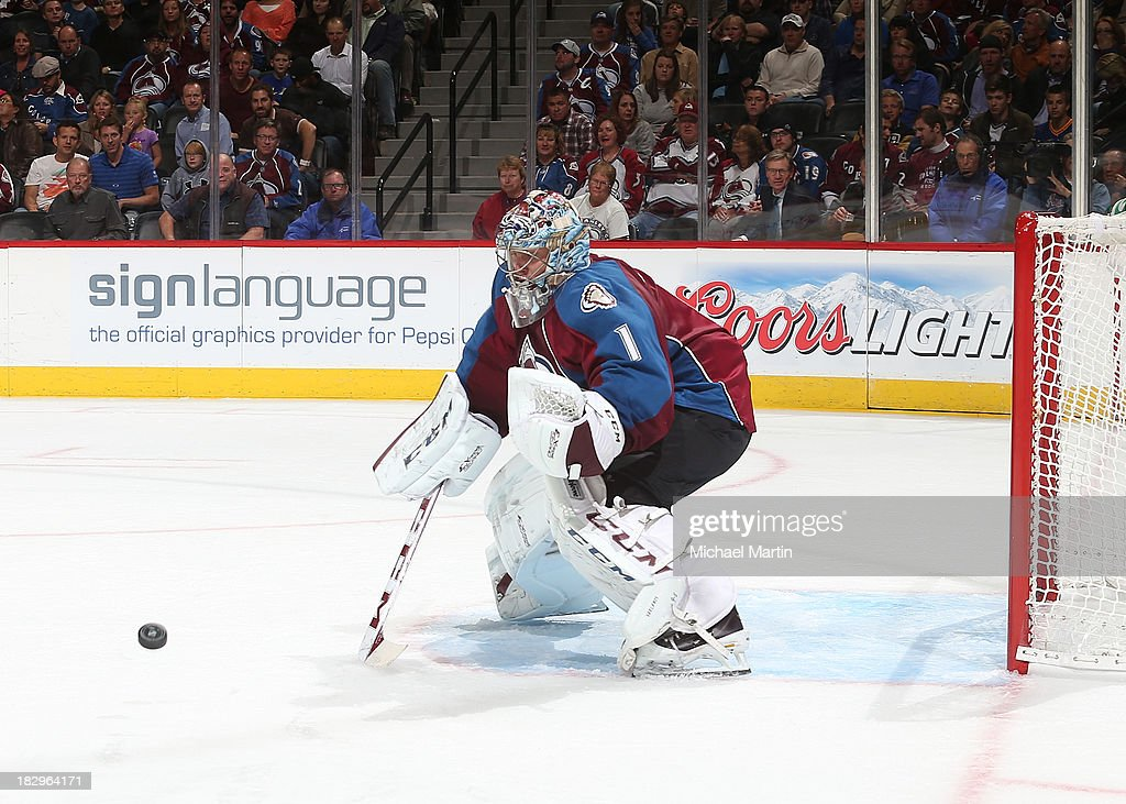 <a gi-track='captionPersonalityLinkClicked' href=/galleries/search?phrase=Semyon+Varlamov&family=editorial&specificpeople=6264893 ng-click='$event.stopPropagation()'>Semyon Varlamov</a> #1 of the Colorado Avalanche makes a save against the Anaheim Ducks at the Pepsi Center on October 2, 2013 in Denver, Colorado.