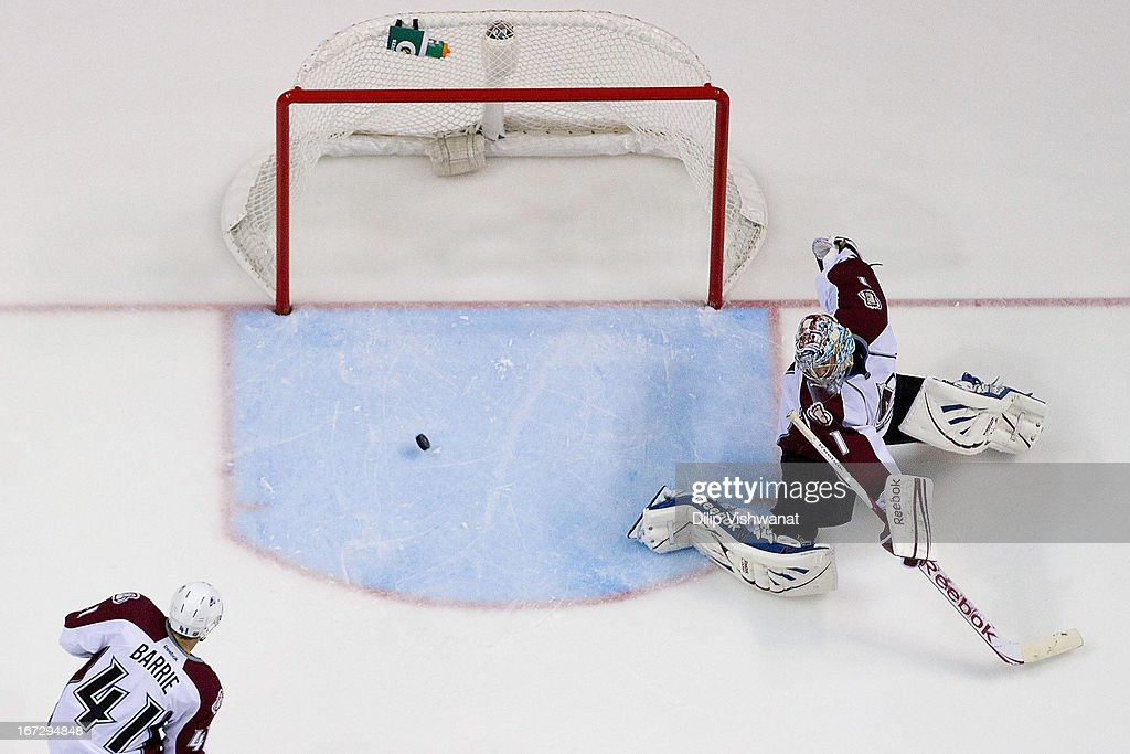 <a gi-track='captionPersonalityLinkClicked' href=/galleries/search?phrase=Semyon+Varlamov&family=editorial&specificpeople=6264893 ng-click='$event.stopPropagation()'>Semyon Varlamov</a> #1 of the Colorado Avalanche makes a save against the St. Louis Blues during the second period at the Scottrade Center on April 23, 2013 in St. Louis, Missouri. The Blues beat the Avalanche 3-1 to clinch a play-off birth.
