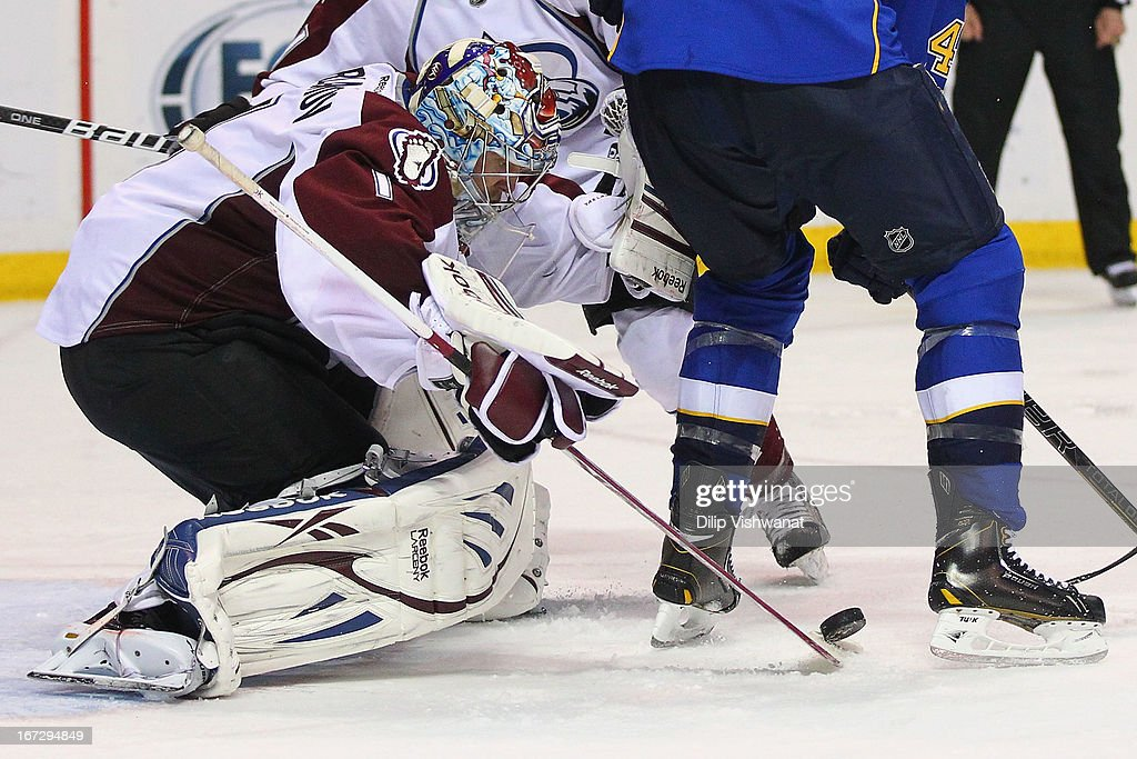 <a gi-track='captionPersonalityLinkClicked' href=/galleries/search?phrase=Semyon+Varlamov&family=editorial&specificpeople=6264893 ng-click='$event.stopPropagation()'>Semyon Varlamov</a> #1 of the Colorado Avalanche makes a save against the St. Louis Blues during the third period at the Scottrade Center on April 23, 2013 in St. Louis, Missouri. The Blues beat the Avalanche 3-1 to clinch a play-off birth.