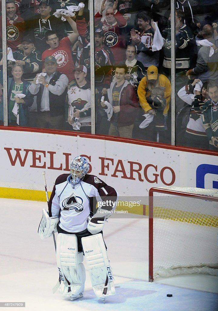 Semyon Varlamov #1 of the Colorado Avalanche reacts after a goal by Zach Parise #11 of the Minnesota Wild during the third period in Game Six of the First Round of the 2014 NHL Stanley Cup Playoffs on April 28, 2014 at Xcel Energy Center in St Paul, Minnesota. The Wild defeated the Avalanche 5-2.