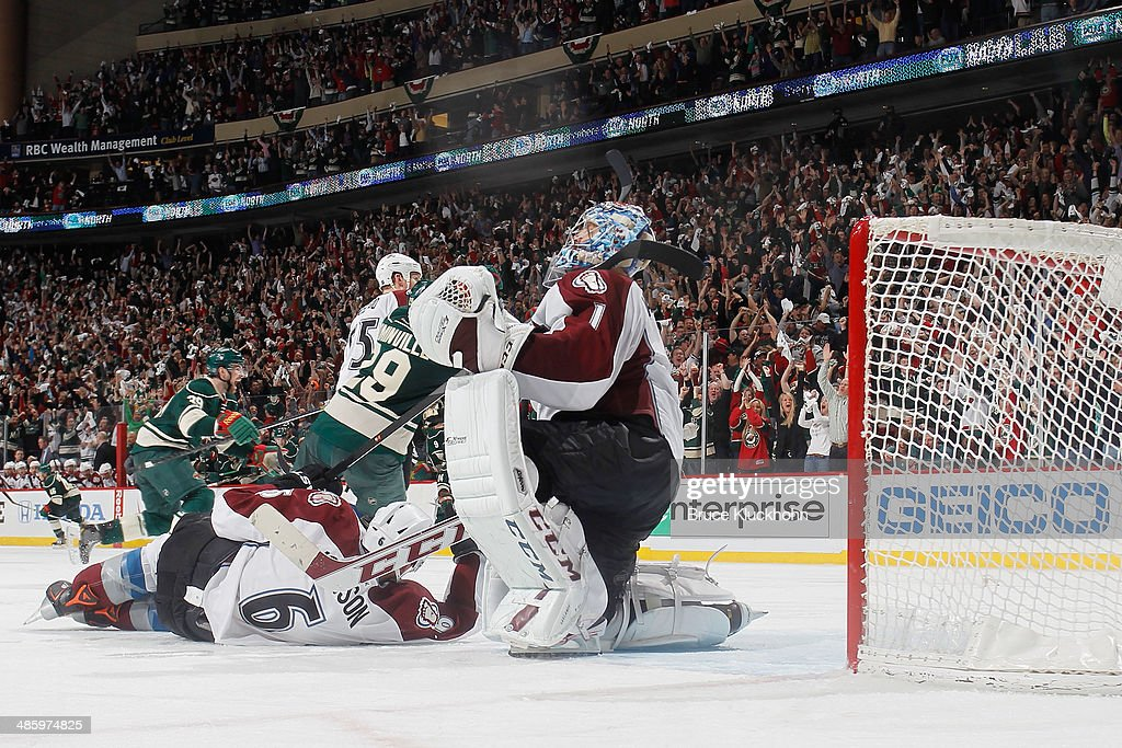 <a gi-track='captionPersonalityLinkClicked' href=/galleries/search?phrase=Semyon+Varlamov&family=editorial&specificpeople=6264893 ng-click='$event.stopPropagation()'>Semyon Varlamov</a> #1 of the Colorado Avalanche reacts after <a gi-track='captionPersonalityLinkClicked' href=/galleries/search?phrase=Mikael+Granlund&family=editorial&specificpeople=5649678 ng-click='$event.stopPropagation()'>Mikael Granlund</a> #64 of the Minnesota Wild scored the game-winning goal in overtime during Game Three of the First Round of the 2014 Stanley Cup Playoffs on April 21, 2014 at the Xcel Energy Center in St. Paul, Minnesota.