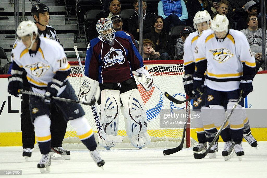 Semyon Varlamov (1) of the Colorado Avalanche reacts to giving up a goal to Sergei Kostitsyn (74) of the Nashville Predators during the first period of action. The Colorado Avalanche take on the Nashville Predators at the Pepsi Center on February 18, 2012.