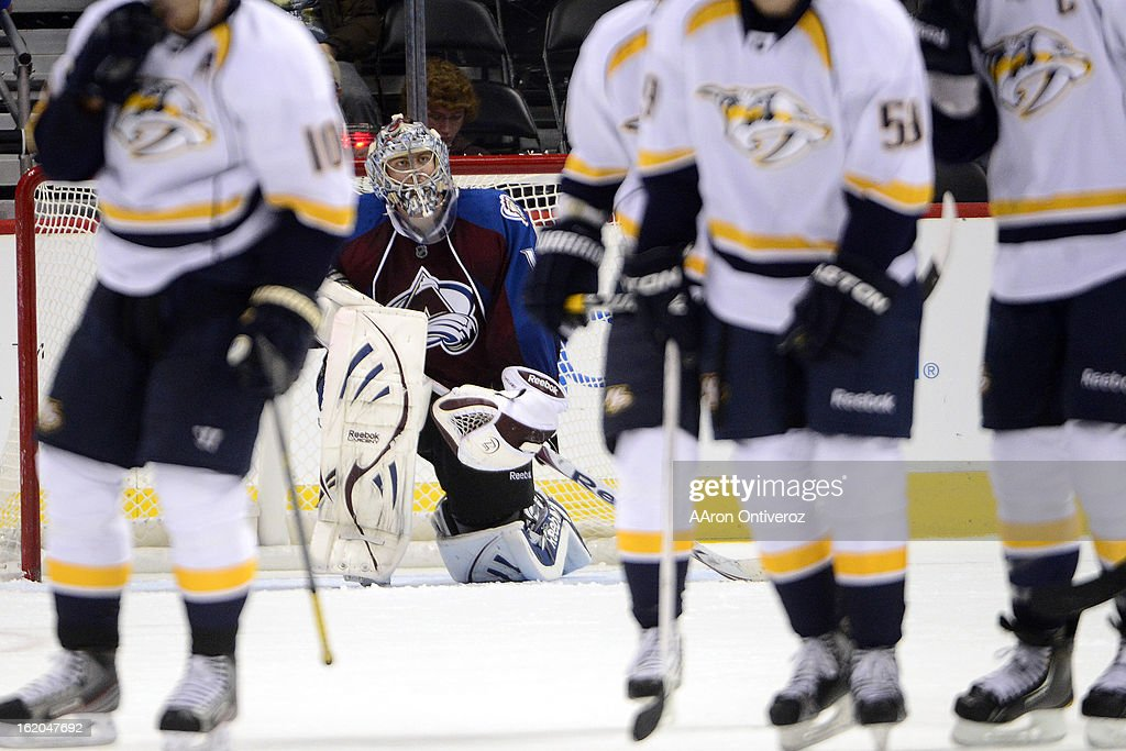 Semyon Varlamov (1) of the Colorado Avalanche reacts to giving up the 6-5 goal to Shea Weber (6) of the Nashville Predators during the third period of action. The Colorado Avalanche defeat the Nashville Predators 6-5 at the Pepsi Center on February 18, 2012.
