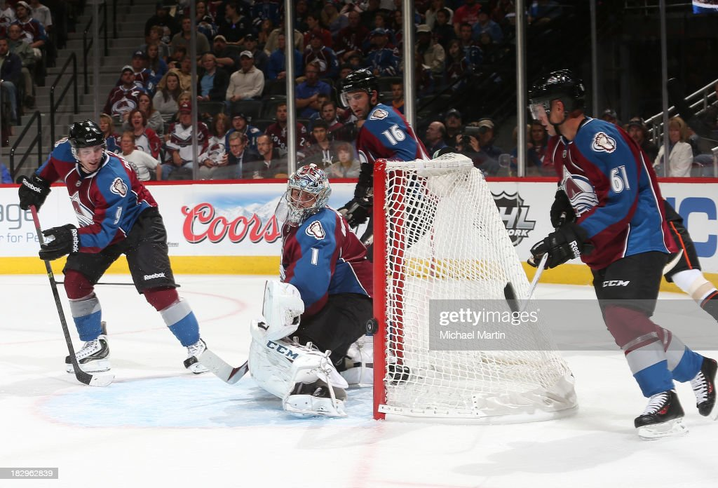 <a gi-track='captionPersonalityLinkClicked' href=/galleries/search?phrase=Semyon+Varlamov&family=editorial&specificpeople=6264893 ng-click='$event.stopPropagation()'>Semyon Varlamov</a> #1 of the Colorado Avalanche watches the puck go wide of the net against the Anaheim Ducks at the Pepsi Center on October 2, 2013 in Denver, Colorado.