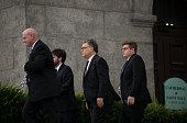 Sen Al Franken center arrives outside the funeral of Philando Castile at the Cathedral of St Paul on July 14 2016 in St Paul Minnesota Castile was...