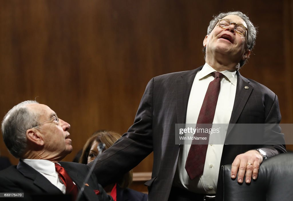 Sen. Al Franken (R) (D-MN) jokes with Committee Chairman Sen. Chuck Grassley (L) (R-IA) prior to the start of the Senate Judiciary Committee's 'markup' on the nomination of Sen. Jeff Sessions to be the next Attorney General of the U.S. January 31, 2017 in Washington, DC. The nomination of Sessions to be the next Attorney General has been complicated by the recent firing of Acting Attorney General Sally Yates by U.S. President Donald Trump.