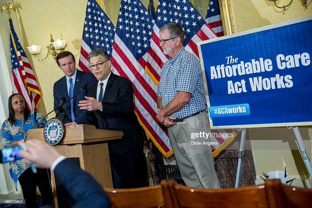 Sen. <a gi-track='captionPersonalityLinkClicked' href=/galleries/search?phrase=Al+Franken&family=editorial&specificpeople=167079 ng-click='$event.stopPropagation()'>Al Franken</a> (D-MN) speaks next to Vanita Johnson (L) and Terry Donald (R), both beneficiaries of the Affordable Care Act, and Sen. <a gi-track='captionPersonalityLinkClicked' href=/galleries/search?phrase=Chris+Murphy+-+Politico&family=editorial&specificpeople=12884903 ng-click='$event.stopPropagation()'>Chris Murphy</a> (D-CT) (2nd L) at a news conference to discuss the Affordable Care Act case being heard at the Supreme Court, March 4, 2015 on Capitol Hill in Washington, DC. Today the Supreme Court was scheduled to hear oral arguments in the case of King v. Burwell that could determine the fate of health care subsidies for as many as eight million people.