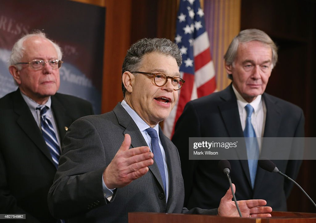 Sen. <a gi-track='captionPersonalityLinkClicked' href=/galleries/search?phrase=Al+Franken&family=editorial&specificpeople=167079 ng-click='$event.stopPropagation()'>Al Franken</a> (D-MN) (C) talks about net neutrality while flanked by Sen. <a gi-track='captionPersonalityLinkClicked' href=/galleries/search?phrase=Bernie+Sanders&family=editorial&specificpeople=2908340 ng-click='$event.stopPropagation()'>Bernie Sanders</a> (I-VT) (L), and Sen. <a gi-track='captionPersonalityLinkClicked' href=/galleries/search?phrase=Edward+Markey&family=editorial&specificpeople=630856 ng-click='$event.stopPropagation()'>Edward Markey</a> (D-MA) (R) during a news conference on Capitol Hill, February 4. 2015 in Washington, DC. Senate Democrats are calling on the Federal Communications Commission to reclassify the transmission component of broadband Internet access as a telecommunications service under Title II of the Telecommunications Act. to prevent broadband providers from creating Internet fast lanes for those who can pay and enforce open internet protections.