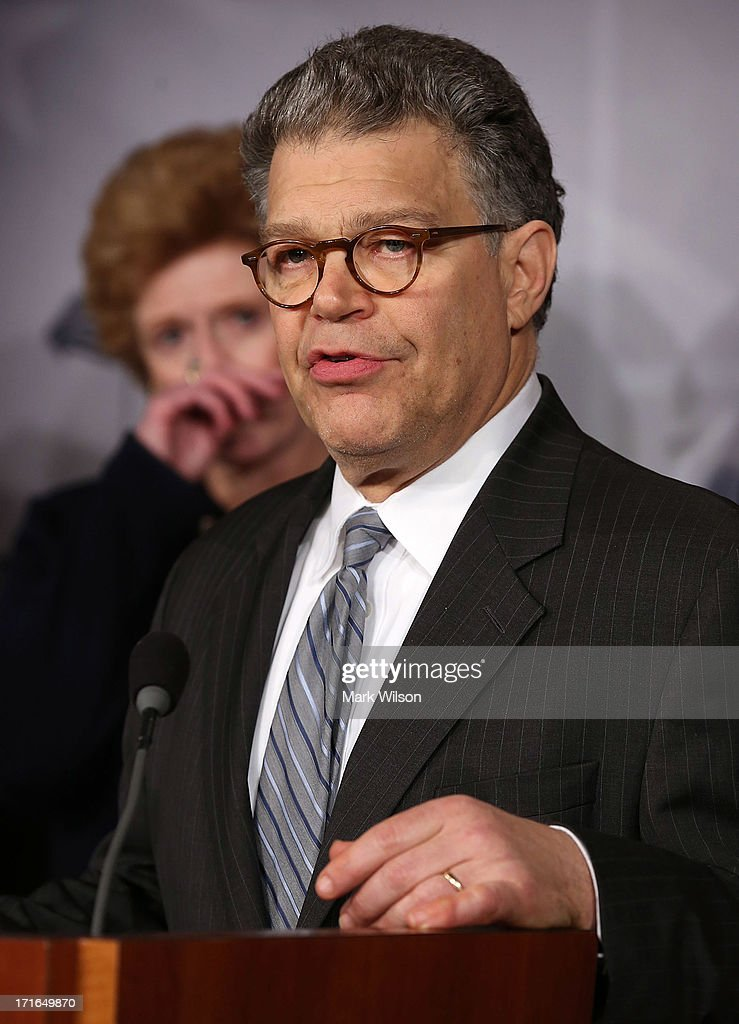Sen. <a gi-track='captionPersonalityLinkClicked' href=/galleries/search?phrase=Al+Franken&family=editorial&specificpeople=167079 ng-click='$event.stopPropagation()'>Al Franken</a> (D-MN), talks about student loans during a news conference on Capitol Hill, June 27, 2013 in Washington, DC. The Senators talked about solutions to keep student loans from doubling on July 1st.