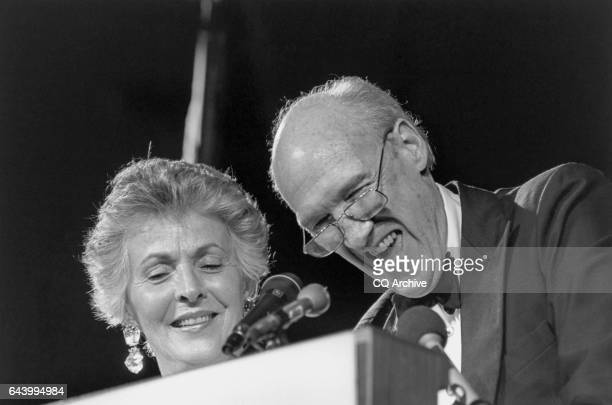 Sen Alan K Simpson RWyo and Mrs Ann Schroll stand at the podium at the end of the program Simpson remarked 'now when someone says to me 'you...