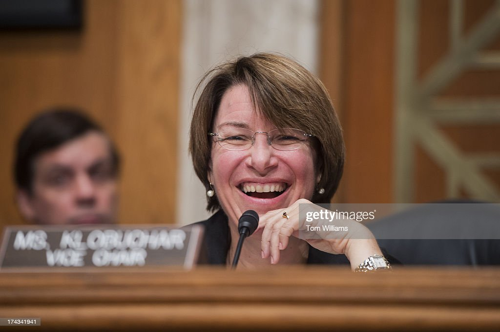 Sen. Amy Klobuchar, D-Minn., vice chair, conducts a Joint Economic Committee hearing in Dirksen Building on fixing the nation's deteriorating infrastructure.