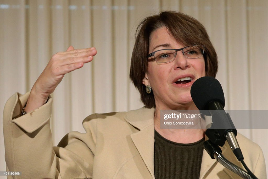 Sen. Amy Klobuchar (D-MN) speaks during a news conference to launch the U.S. Agriculture Coalition for Cuba at the National Press Club January 8, 2015 in Washington, DC. The Obama Administration, governors from leading agricultural states and bipartisan members of the U.S. Congress participated in the news conference and supported expanded commerce, travel and agriculture trade with Cuba as a vehicle for political change on the island.Ê
