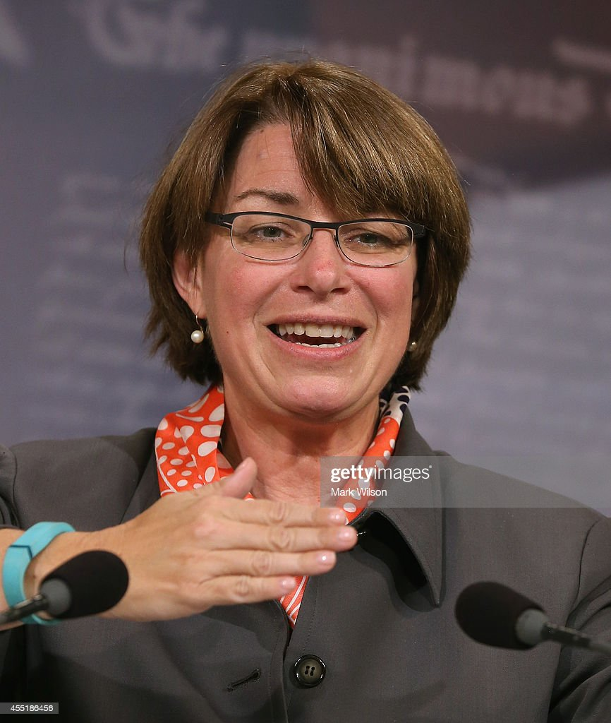 Sen. <a gi-track='captionPersonalityLinkClicked' href=/galleries/search?phrase=Amy+Klobuchar&family=editorial&specificpeople=3959717 ng-click='$event.stopPropagation()'>Amy Klobuchar</a> (D-MN) speaks during news conference following the Senates vote on the Paycheck Fairness Act, at the US Capitol, September 10, 2014 in Washington, DC. Democrats needed 60 votes to advance the legislation procedurally with the final tally coming to 73-25 in favor.