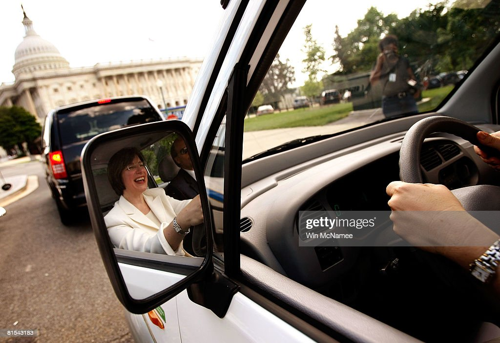 Sen. Amy Klobuchar (D-MN) test drives a Miles Electric Vehicle to the U.S Capitol June 12, 2008 in Washington, DC. Earlier, Klobuchar joined Sen. Harry Reid (D-NV) and other members of Congress in speaking out on the need to develop new technologies that can help reduce U.S. dependence on oil. The car Klobuchar is driving is the Miles ZX40S, one of the alternative energy cars on display on Capitol Hill.