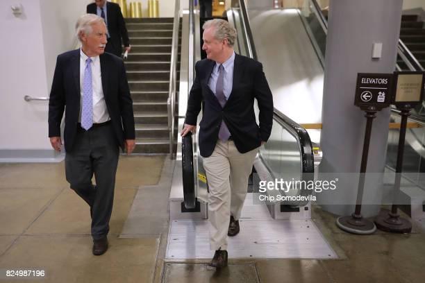 Sen Angus King and Sen Chris Van Hollen walk and talk following a vote at the US Capitol July 31 2017 in Washington DC Senate GOP leadership was...