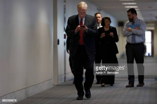 Sen Angus King and Sen Dianne Feinstein arrive for a meeting of the Senate Select Committee on Intelligence on Capitol Hill April 6 2017 in...