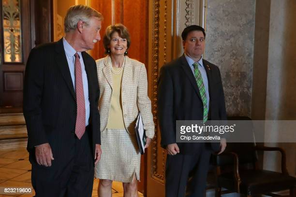 Sen Angus King and Sen Lisa Murkowski leaves the Senate Chamber following votes in the US Capitol July 26 2017 in Washington DC GOP efforts to pass...