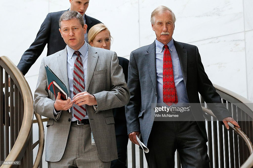 Sen. <a gi-track='captionPersonalityLinkClicked' href=/galleries/search?phrase=Angus+King&family=editorial&specificpeople=2102168 ng-click='$event.stopPropagation()'>Angus King</a> (R) (I-ME) arrives for a Senate Armed Services Committee closed briefing July 30, 2014 in Washington, DC. Members of the committee received a briefing on the latest developments in Ukraine.