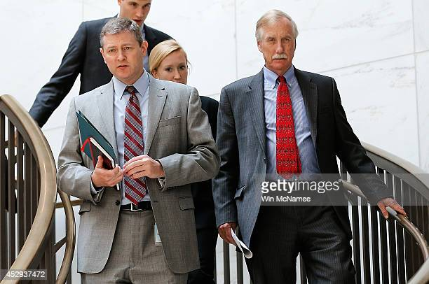 Sen Angus King arrives for a Senate Armed Services Committee closed briefing July 30 2014 in Washington DC Members of the committee received a...