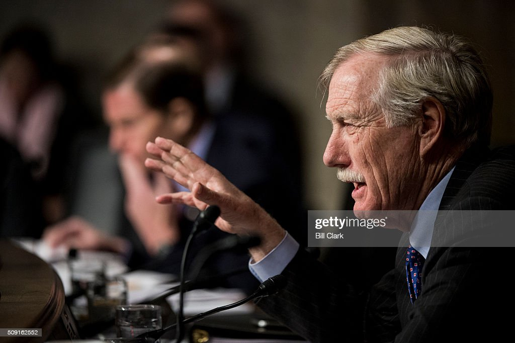 Sen. Angus King, I-Maine, questions witnesses during the Senate Armed Services Committee hearing on 'Worldwide Threats' on Tuesday, Feb. 9, 2016.