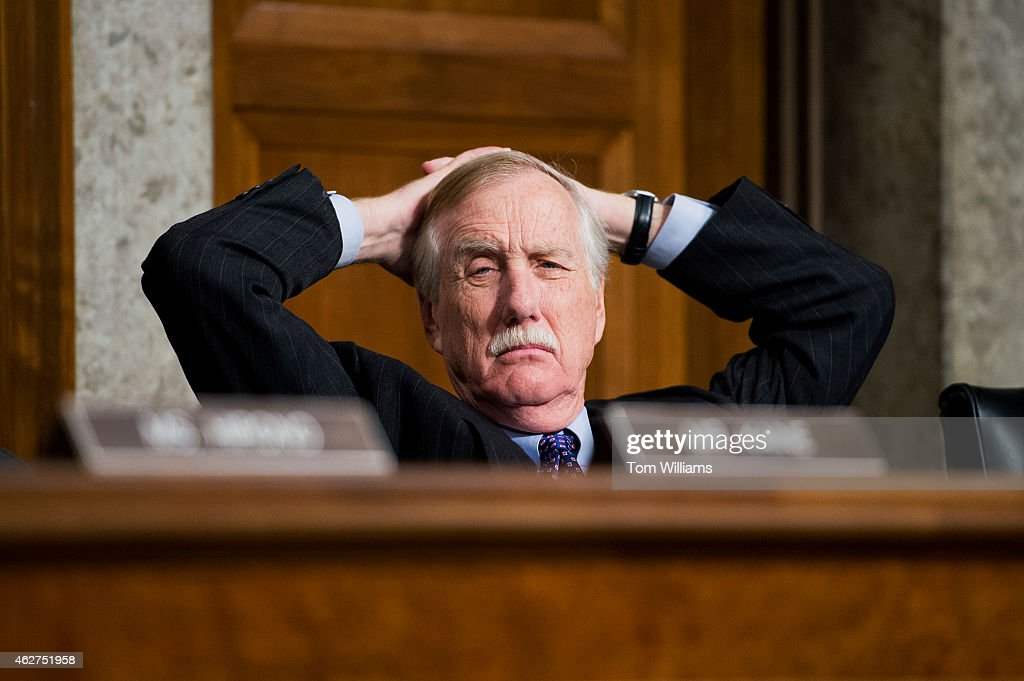 Sen. <a gi-track='captionPersonalityLinkClicked' href=/galleries/search?phrase=Angus+King&family=editorial&specificpeople=2102168 ng-click='$event.stopPropagation()'>Angus King</a>, I-Me., attends a Senate Armed Services Committee confirmation hearing in Dirksen Building on the nomination of Ashton Carter to be Secretary of Defense, February 4, 2015.