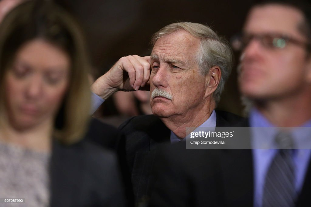 Sen. <a gi-track='captionPersonalityLinkClicked' href=/galleries/search?phrase=Angus+King&family=editorial&specificpeople=2102168 ng-click='$event.stopPropagation()'>Angus King</a> (I-ME) joins the public audience during a Senate Judiciary Committee hearing about the recent spike in heroin and prescription drug abuse and deaths in the Dirksen Senate Office Building on Capitol Hill January 27, 2016 in Washington, DC. The committee is working on several pieces of legislation that would assist states with abuse prevention and treatment and prosecution of those responsible for the recent spike in heroin and perscription drug overdose deaths.