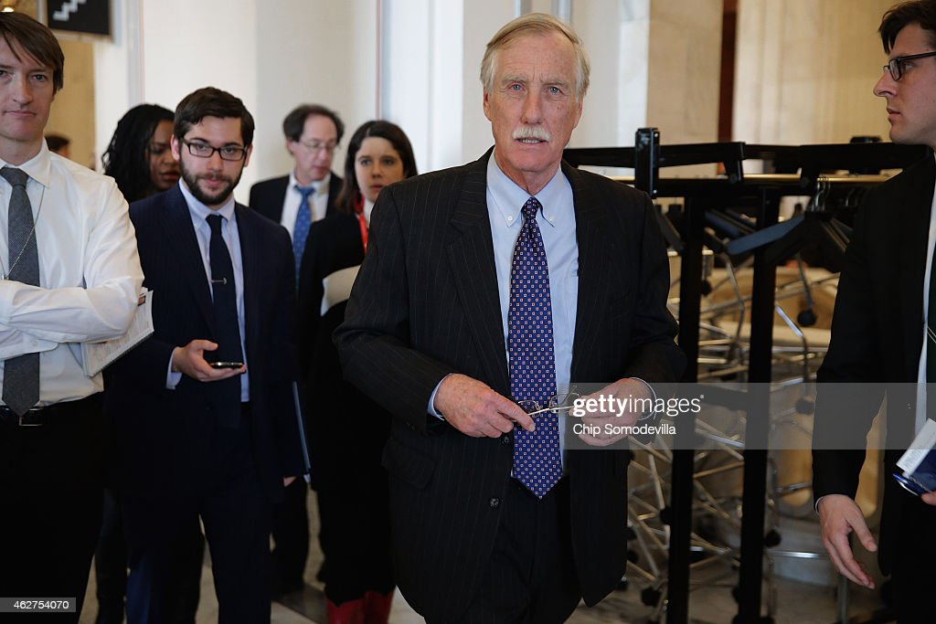Sen. <a gi-track='captionPersonalityLinkClicked' href=/galleries/search?phrase=Angus+King&family=editorial&specificpeople=2102168 ng-click='$event.stopPropagation()'>Angus King</a> (I-ME) leaves a Senate bipartisan lunch in the Russell Senate Office Building on Capitol Hill February 4, 2015 in Washington, DC. Senators from both parties said they did not talk about current legislation during the lunch and said they plan to continue the bipartisan lunch once every month.