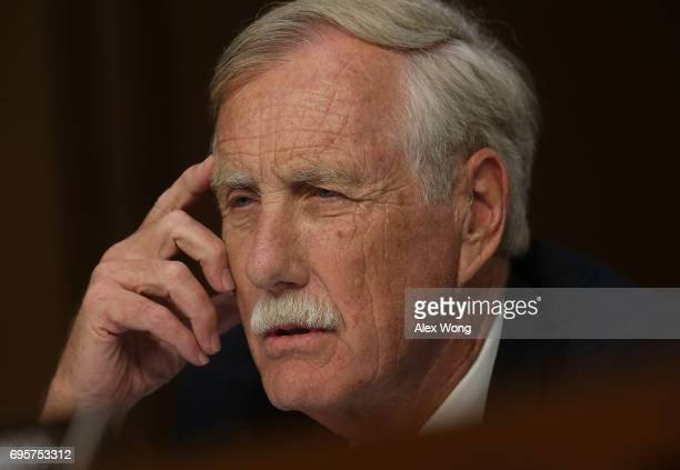 S Sen Angus King speaks during a hearing before the Senate Intelligence Committee June 13 2017 in Washington DC Attorney General Jeff Sessions was...