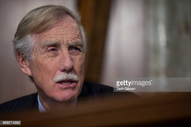 Sen Angus King speaks during a Senate Energy Subcommittee hearing discussing cybersecurity threats to the US electrical grid and technology...