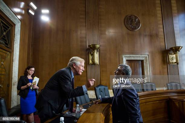Sen Angus King speaks to Oak Ridge National Laboratory Director for Science and Technology Thomas Zacharia following a Senate Energy Subcommittee...