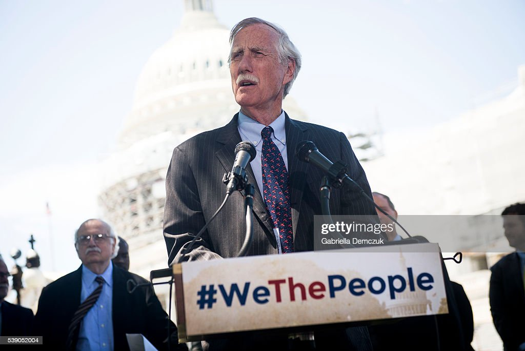 Sen. <a gi-track='captionPersonalityLinkClicked' href=/galleries/search?phrase=Angus+King&family=editorial&specificpeople=2102168 ng-click='$event.stopPropagation()'>Angus King</a> (I-ME) speaks to reporters at a news conference dubbed #WeThePeople outside the Capitol on June 9, 2016 in Washington, D.C. Senate Democrats unveiled a new legislative proposal that will reform campaign finances and ensure fairer elections.
