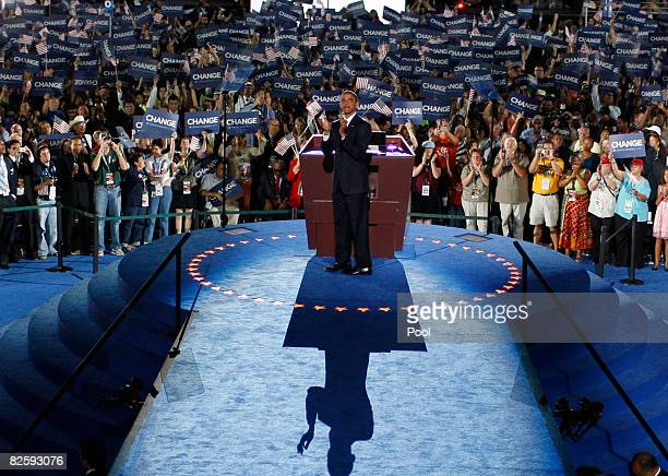 S Sen Barack Obama greets delegates before he accepts the Democratic presidential nomination at Invesco Field at Mile High at the 2008 Democratic...