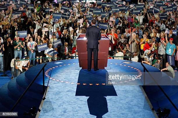 S Sen Barack Obama speaks as he accepts the Democratic presidential nomination at Invesco Field at Mile High at the 2008 Democratic National...