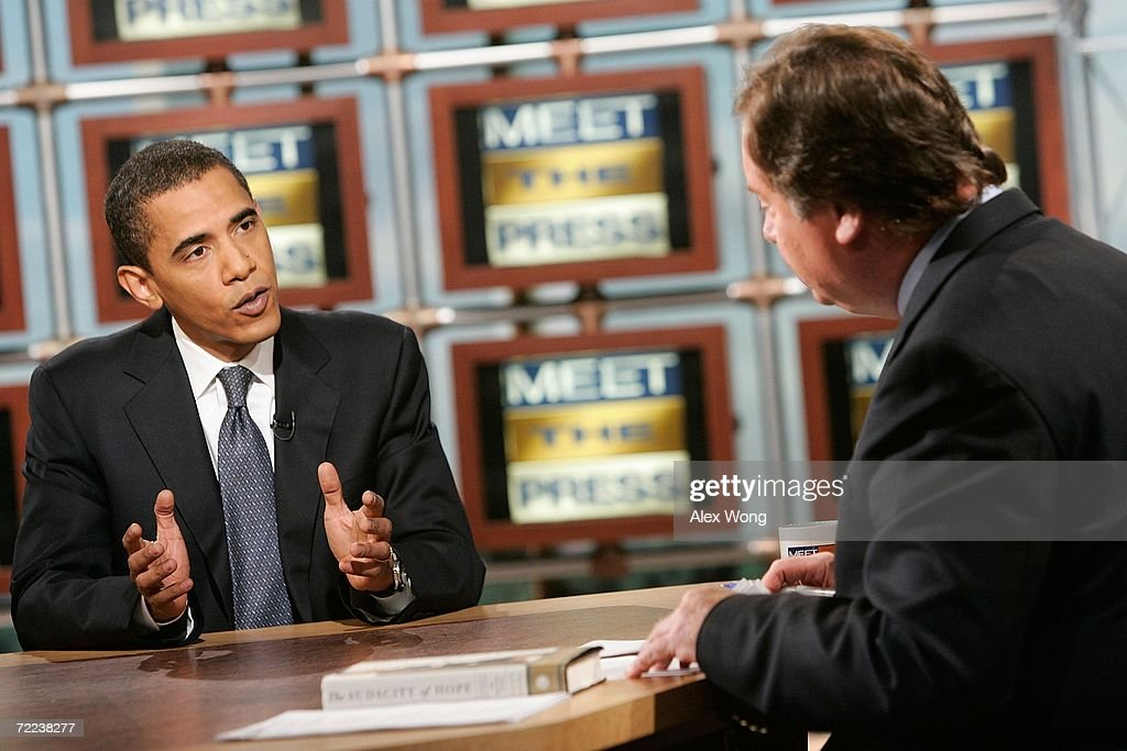 S Sen Barack Obama speaks as he is interviewed by moderator Tim Russert on 'Meet the Press' during a taping at the NBC studios October 22 2006 in...