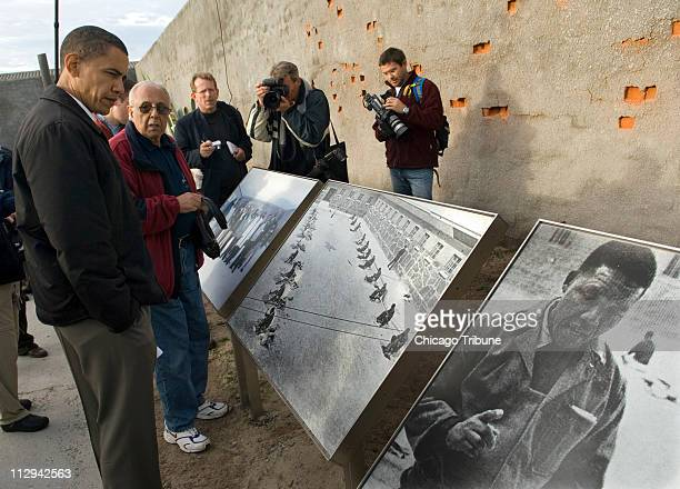 US Sen Barack Obama tours Robben Island South Africa with Ahmed Kathrada background Sunday August 20 2006 Robben Island off the coast of Cape Town is...