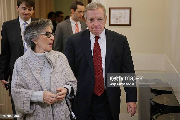 Sen Barbara Boxer and Senate Minority Whip Richard Durbin arrive for a news conference about Democratic legislative proposals in the wake of last...