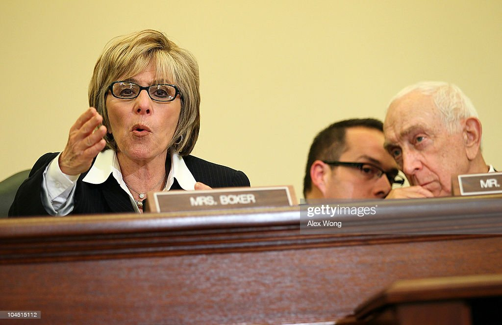 U.S. Sen. <a gi-track='captionPersonalityLinkClicked' href=/galleries/search?phrase=Barbara+Boxer&family=editorial&specificpeople=169888 ng-click='$event.stopPropagation()'>Barbara Boxer</a> (D-CA) (L) speaks as Committee Chairman Sen. <a gi-track='captionPersonalityLinkClicked' href=/galleries/search?phrase=Frank+Lautenberg&family=editorial&specificpeople=240397 ng-click='$event.stopPropagation()'>Frank Lautenberg</a> (D-NJ) (R) listens to an aide during a hearing before the Senate Commerce, Science and Transportation Committee September 28, 2010 on Capitol Hill in Washington, DC. The hearing was to examine the nation's pipeline safety in the wake of the pipeline explosion in San Bruno, California on September 9, 2010.