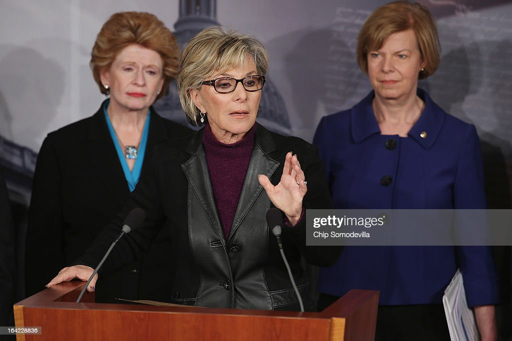 Sen Barbara Boxer speaks during a news conference with Sen Debbie Stabenow and Sen Tammy Baldwin at the US Capitol March 21 2013 in Washington DC The...