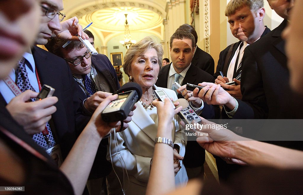 U.S. Sen. <a gi-track='captionPersonalityLinkClicked' href=/galleries/search?phrase=Barbara+Boxer&family=editorial&specificpeople=169888 ng-click='$event.stopPropagation()'>Barbara Boxer</a> (D-CA) speaks to the media before voting on the debt limit bill August 2, 2011 in Washington, DC. The Senate voted 74-26 to approve the bill to raise the debt ceiling, allowing the U.S. to avoid default on its debts.
