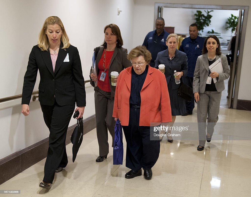 Sen. Barbara Mikulski, D-MD., and Sen. Kirsten Gillibrand, D-NY., walk to a classified briefing on April 25, 2013 on the bombings in Boston. Members of the U.S. Senate and Senate leadership received the latest updates from members of the U.S. intelligence community on developments.
