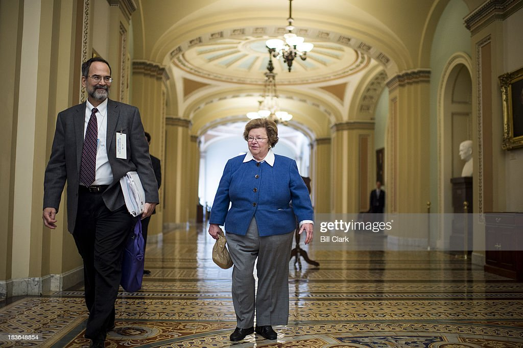 Sen. <a gi-track='captionPersonalityLinkClicked' href=/galleries/search?phrase=Barbara+Mikulski&family=editorial&specificpeople=226768 ng-click='$event.stopPropagation()'>Barbara Mikulski</a>, D-Md., arrives for the Senate Democrats' policy lunch in the Capitol on Tuesday, Oct. 8, 2013.