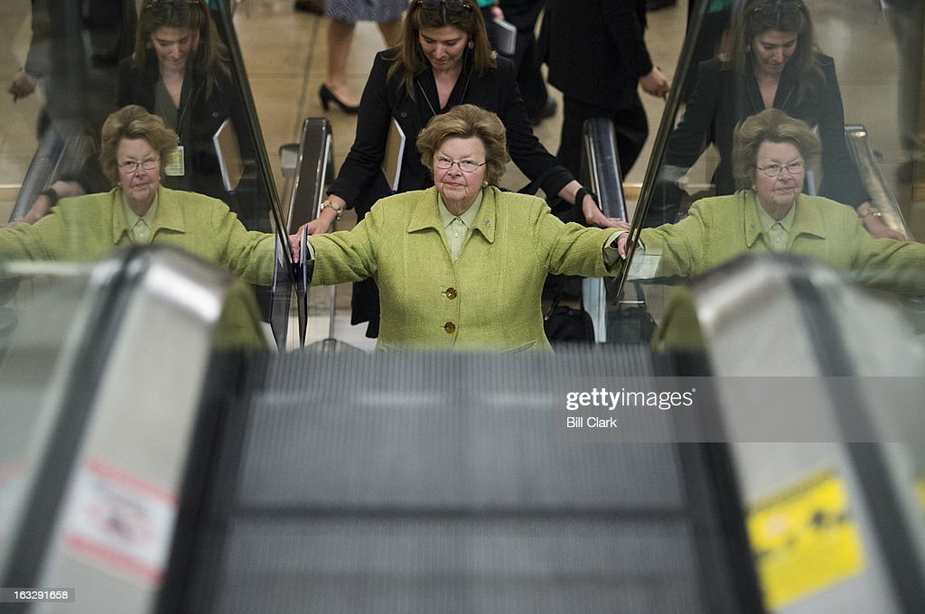 Sen. Barbara Mikulski, D-Md., arrives in the Capitol via the Senate subway for the Senate Democrats' policy lunch on Thursday, March 7, 2013.
