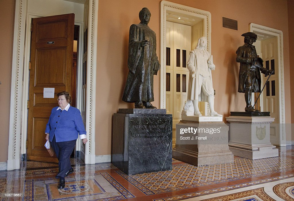 Sen. <a gi-track='captionPersonalityLinkClicked' href=/galleries/search?phrase=Barbara+Mikulski&family=editorial&specificpeople=226768 ng-click='$event.stopPropagation()'>Barbara Mikulski</a>, D-Md., leaves the Senate Democratic policy luncheon.