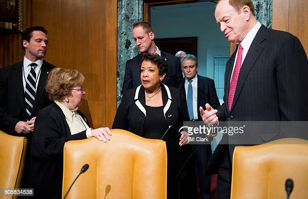 Sen Barbara Mikulski DMd left and Sen Richard Shelby RAla right greet Attorney General Loretta Lynch as she arrives for the Senate Appropriations...