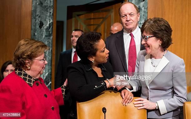 Sen Barbara Mikulski DMd left Sen Richard Shelby RAla back and Sen Susan Collins RMaine welcome Attorney General Loretta Lynch to her very first...